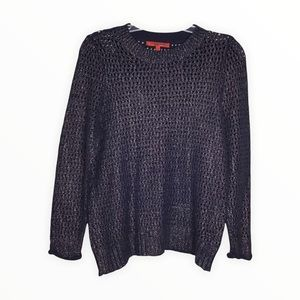 Narciso Rodriguez for Design Nation Sweater Blue Metallic Shimmer